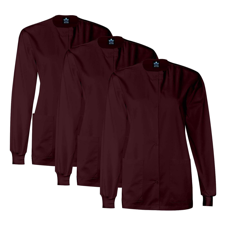3 Pack Burgundy MAZEL UNIFORMS Womens Scrub Jacket Warm UP Jacket with Snaps Many colors