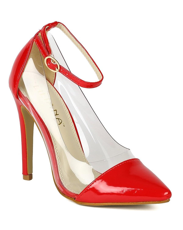 Liliana Women Patent Lucite Pointy Toe Stiletto Pump BB56 - Red B00KW1YRXI 8.5 M US