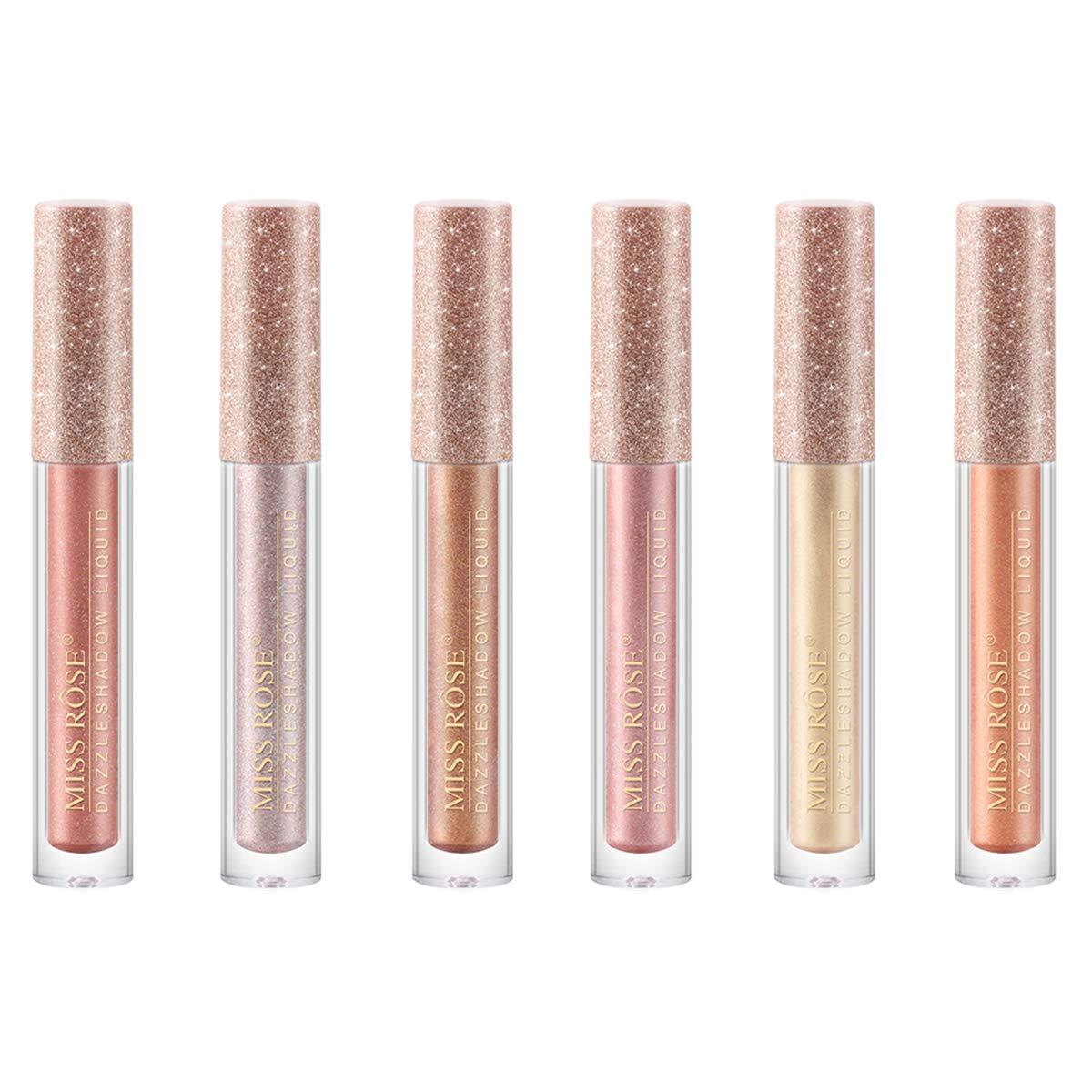 Coosa 6 Colors Glitter Liquid Eyeliner Metallic Shimmer Eyeliners Waterproof Lasting Sparkling Colorful Eyeliner Eye Shadow