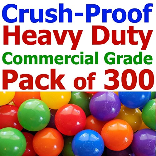 """My Balls Trial Pack of 300 Jumbo 3"""" Commercial Grade Crush-Proof Ball Pit Balls - 3 Random Colors, Phthalate Free, BPA Free, PVC Free, non-Toxic, non-Recycled Plastic(HD Commercial Grade, Pack of 300)"""