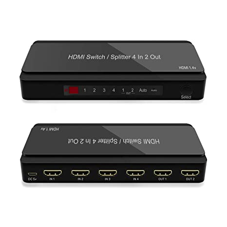 4 Port HDMI Switcher, 4 in 2 Out HDMI Switch with Remote and PIP Function  Support 4k@30hz, 3D and Auto/Not Auto Function Compatible for Roku, PS3,