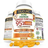 Trucurc Organic Turmeric Curcumin Supplement with 95% Standardized Pure Curcumin and Bioperine Black Pepper for Max Absorption- Highest Potency for Anti-Inflammatory Joint Pain Relief - 60 Capsules