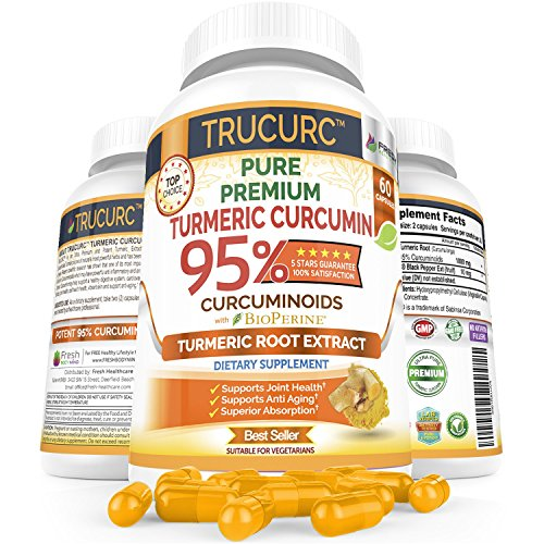 TRUCURC Turmeric Curcumin Maximum 95% Potency Supplement - Pure Organic Curcumin – Ultimate Tumeric Capsules for Anti-Inflammatory Joint Pain Relief w/Bioperine Black Pepper for Superior Absorption