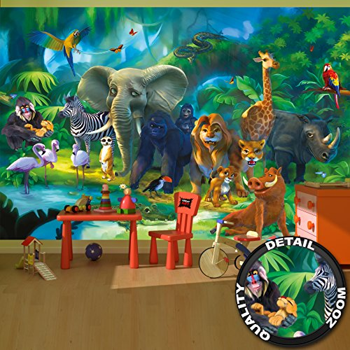 GREAT ART Wall Mural - Jungle Animals Childrens Room Animal Decoration Boy and Girls - Wallpaper Kids Poster Safari Tiger Lion Monkey (132.3 Inch x 93.7 Inch / 336 x 238 Centimeter) -