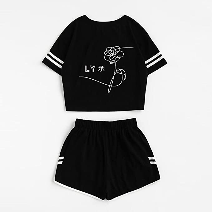 d819588d2 Amazon.com : CHAIRAY BTS Love Yourself Shorts and Tee Set Jimin Jungkook V T -Shirt Suit : Sports & Outdoors