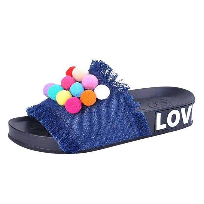POLP Zapatillas de Estar por casa para Mujer Playa Verano 2019 Zapatos Planos Plataforma Moda Punta Redonda Plana Mocasines Casual Sandalia Cómodo Chanclas ...