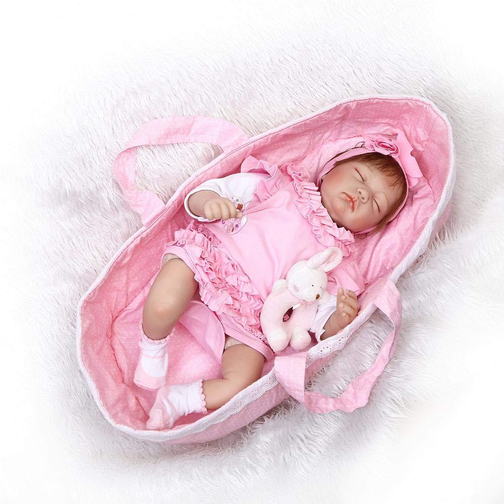 Reborn Baby, 55cm Lebensechte Silikon Reborn Doll Schlafenszeit Früherziehung für Kinder Geburtstagsgeschenk
