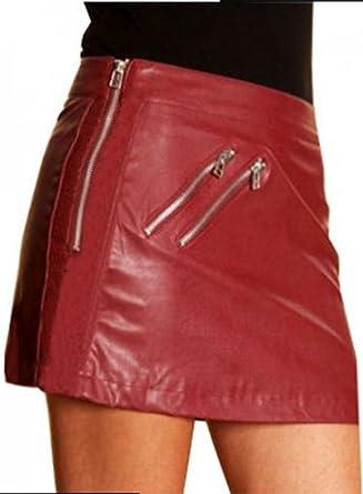 c441c68ed301 New York Lambskin Genuine Leather Women Maroon Zipper Mini Skirt at ...