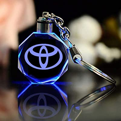 Fitracker 2020 New Style Key Chain Accessories Car Key Ring LED Crystal 7 Color Light Changing Gift for Drivers: Automotive