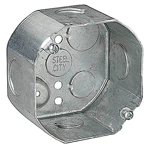 (Steel City 54171-1/2&3/4 Outlet Box, Octagon, Drawn Construction, 4-Inch Diameter by 2-1/8-Inch Depth, Galvanized)