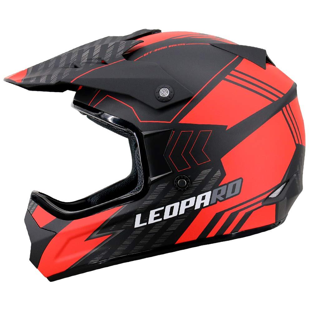 Leopard LEOX307 Casco de Moto Motocross Negro Mate//Azul L 59-60cm para Ciclomotor Motocicleta y Scooter Mujer y Hombre ECE Homologado