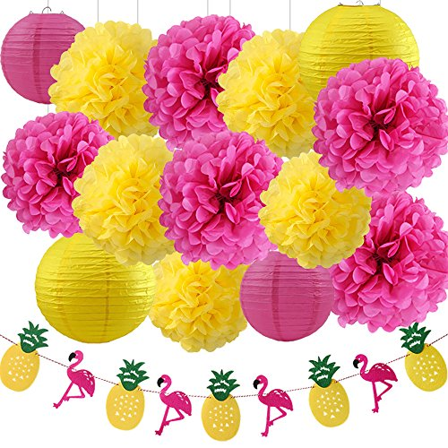 (Wcaro Big Kit Luau Party Hawaiian Decorations Luau Party Supplies Pineapple Decorations Tissue Paper Pom Paper Lanterns Flamingo Pineapple Banner Paper Flower For Summer Party)