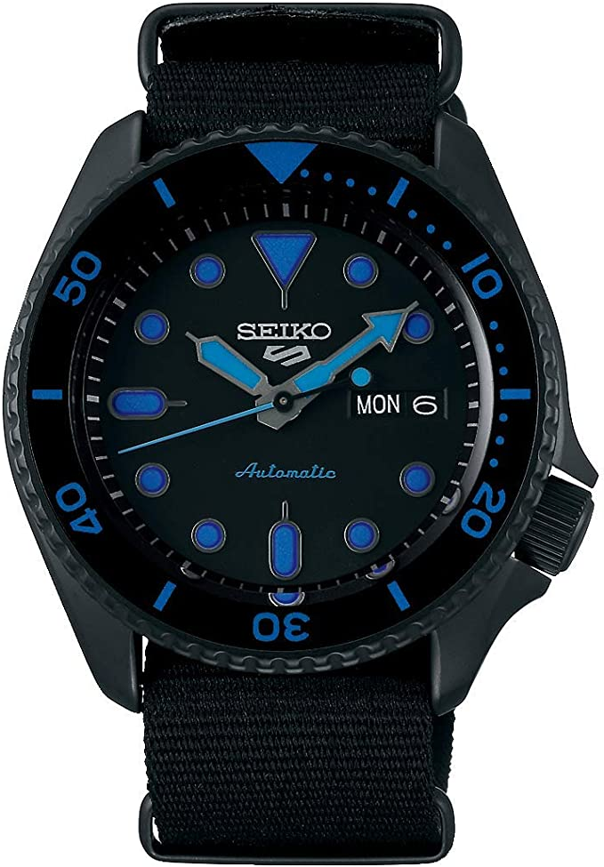 Reloj Seiko colección Sport 5 - Reloj con Movimiento automático, Caja pavonada en Negra y Detalles en Azul.: Amazon.es: Relojes