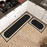 KEYAMA 2 pieces High-grade (18''Wx47''L+20''Wx71''L) Navy blue Grid Acrylic Non-Slip Home Kitchen Floor Comfort Mat sets Home Decorative area Rugs Hallway Room aisle decorative Runner Doormat sets.