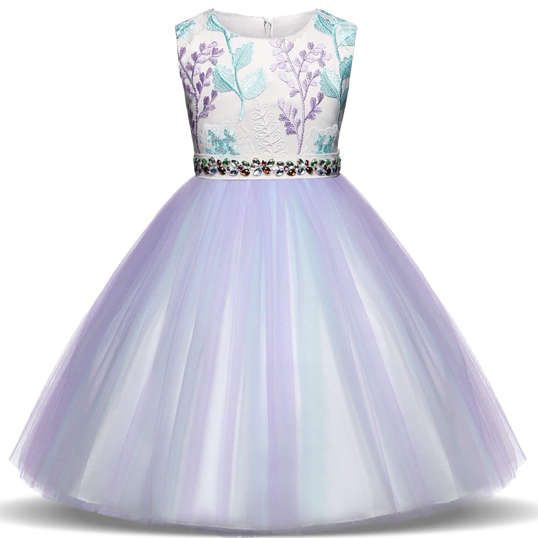 TTYAOVO Girls Flower Printing Chiffon Princess Wedding Party Holiday Dresses
