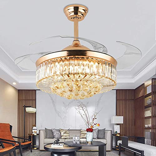 KALRI 42 Luxury Crystal Ceiling Fan Light with Led Light Kits and Remote Control Invisible Retractable Blades 3 Light Color Changing Chandelier Ceiling Lighting Fixture Rose Gold