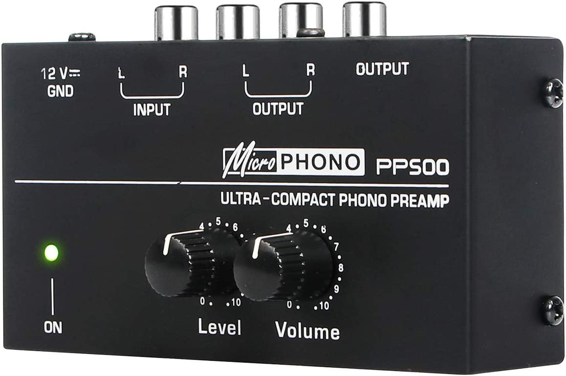 Depusheng PP500 Ultra-compact Preamplifier Phono Preamp with Level Volume Controls RCA Input Output 1 4 TRS Output Interfaces