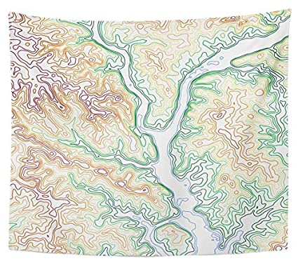 Topographic Map Mountains.Amazon Com Emvency Tapestry Polyester Fabric Print Home Decor