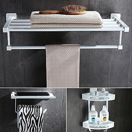 Daadi Blanco Puro nórdico Toallas de baño Toallas de baño toallero Doble de Acero Inoxidable Kit