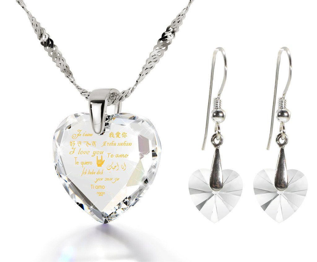 925 Silver I Love You Necklace 12 Languages Gold Inscribed Clear CZ - Crystal Earring Heart Jewelry Set