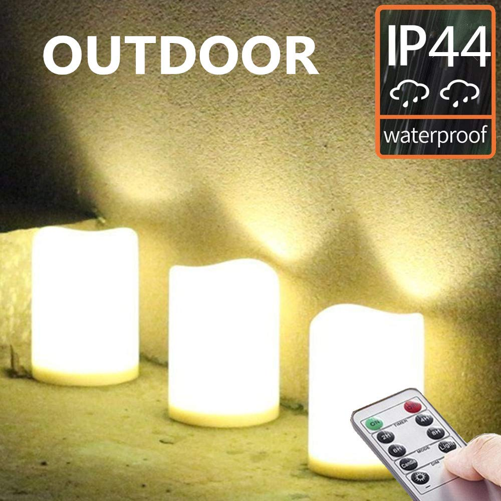 Set of 3 Outdoor IP44 Warm White LED Rainproof Waterproof Flameless Battery LED Pillar Candles with Remote and Timer, Plastic, Won't Melt, Weather Resistant Design 3 x 4'', Timer 24hours