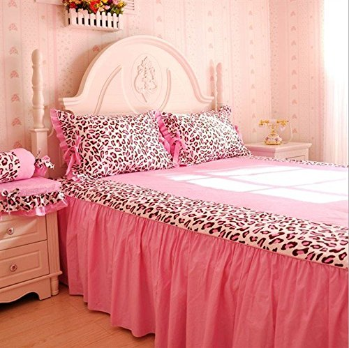 LELVA Pink Leopard Print Princess Bedding Sets, Cotton Ruffle Bedding Set