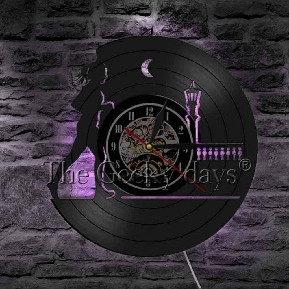 Ejercicio bajo Running Lady diseño Reloj de Pared de Vinilo Modelo Decoración de la Pared Sigue Corriendo Reloj de Pared Runner Gift-B