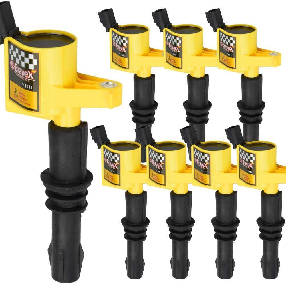 DG508 8 Pack For Ford Ignition Coils High Performance Multispark Blaster Epoxy DG508 15/% More Energy Fit 04-08 Ford F-150 Expedition V8 4.6 5.4L Yellow