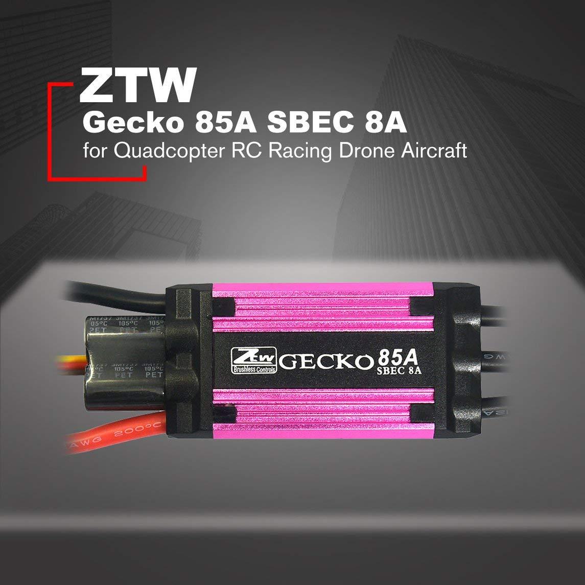 Footprintse ZTW Gecko Gecko Gecko 85A Brushless Regler mit 8A SBEC für Quadcopter RC Racing Drone-Farbe  Pink & Schwarz 915239