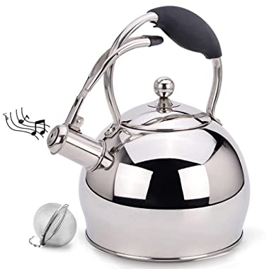 Tea Kettle Best 3 Quart induction Modern Stainless Steel Surgical Whistling Teapot -Tea Pot For Stove Top (3L, Silver)