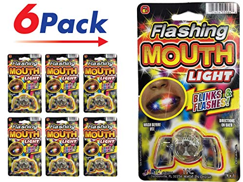 Light Up Mouthpiece - Flashing Mouth Piece (Pack of 6)