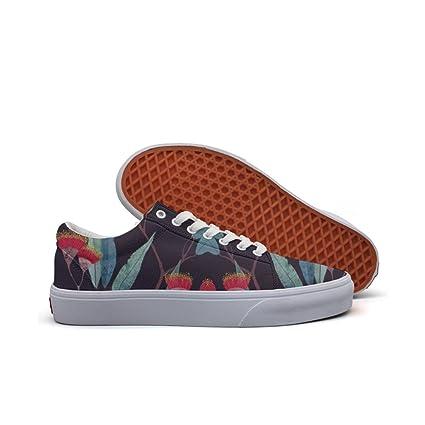 womens Skateboarding Shoes Canvas leaves flowers eucalyptus Sport Sneaker