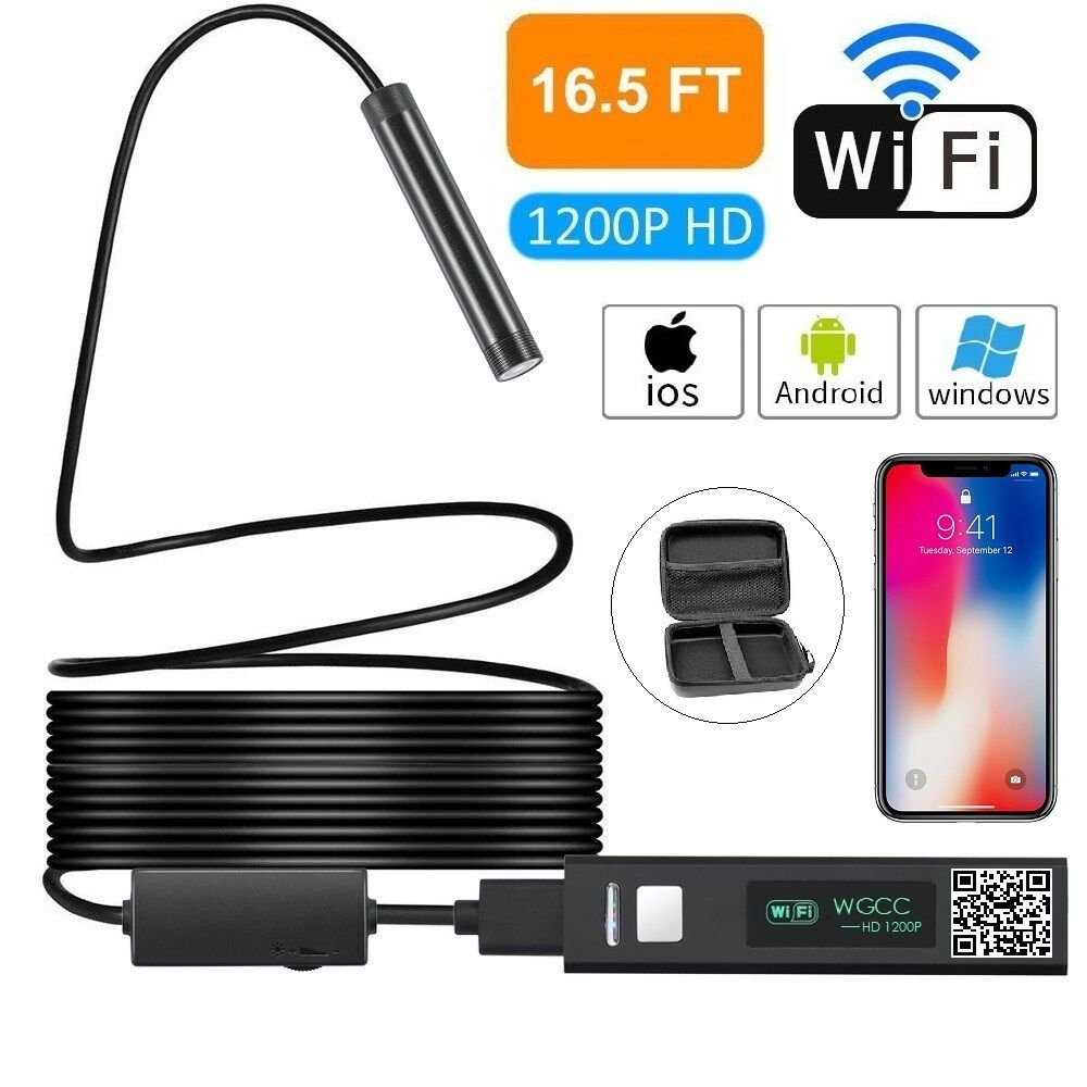 Wireless Endoscope,1200P HD WiFi Borescope IP68 Waterproof Inspection Camera,for Android Smartphone/Iphone IOS/Tablet/PC -Black (16.5FT)