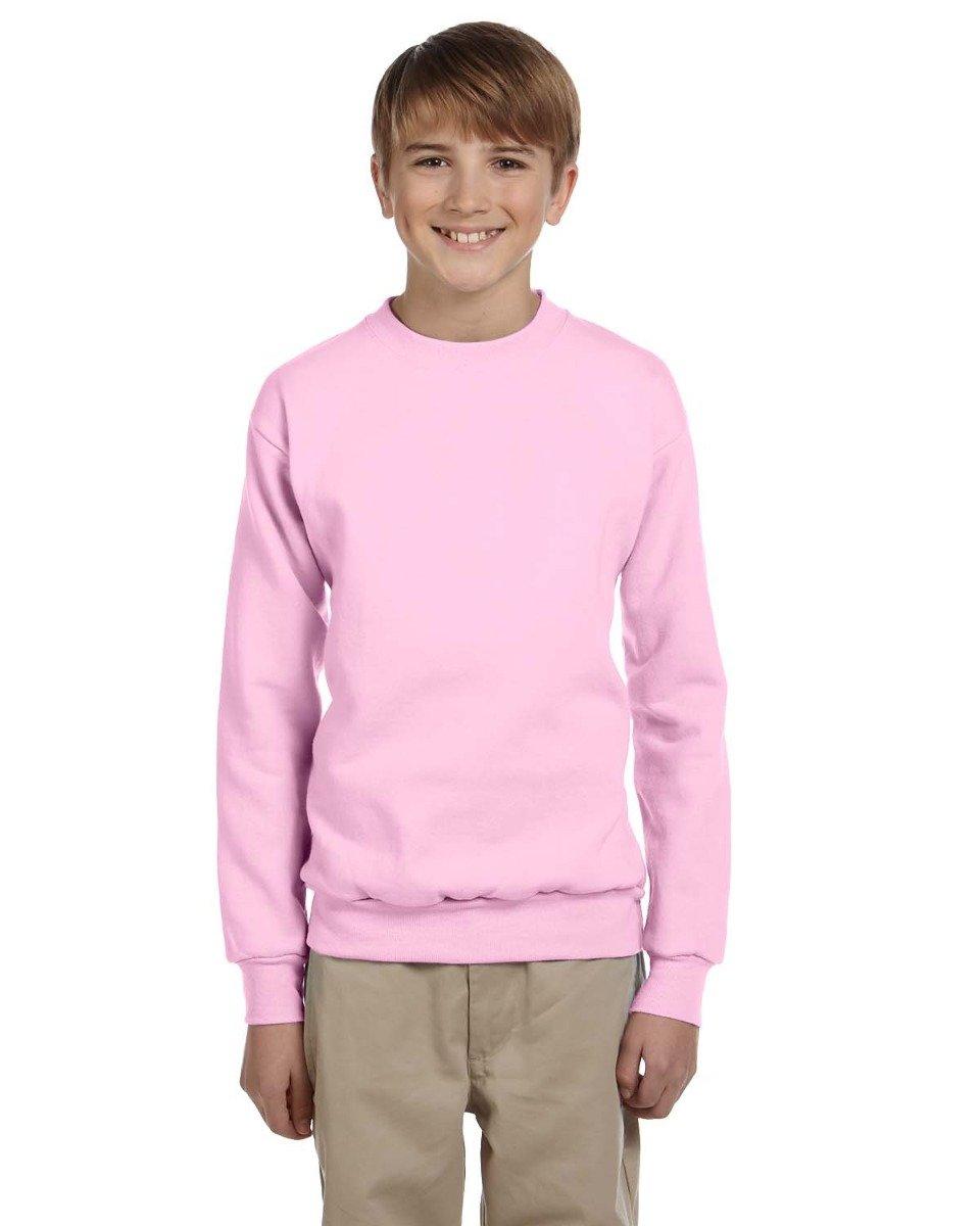 Hanes Youth ComfortBlend EcoSmart Crewneck Sweatshirt, Pale Pink, Size-M P360