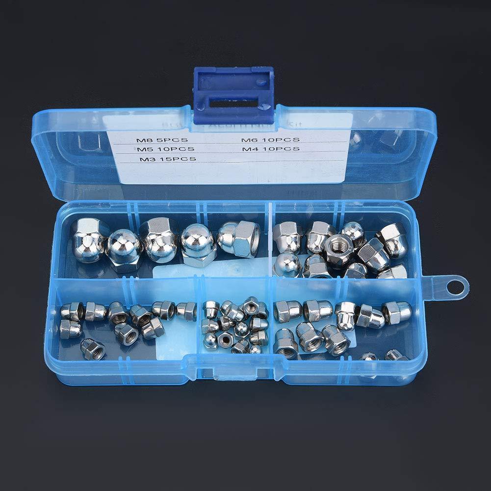 Acogedor 50pcs Hex Acorn Nuts Kit,M3//M4//M5//M6//M8 Stainless Steel Dome Head Cap Hex Nuts Cap Nuts