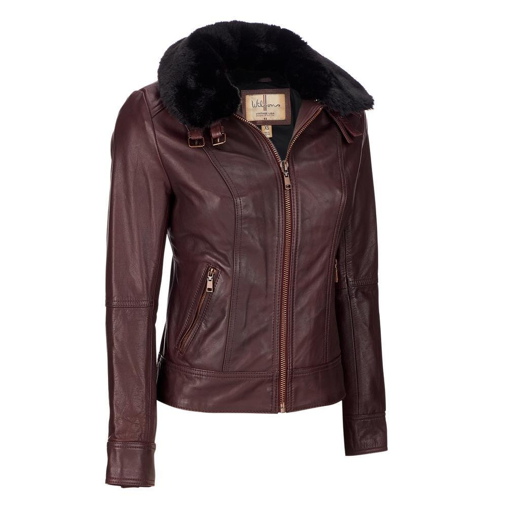 Wilsons Leather Womens Vintage Genuine Leather Jacket W/Removable Faux-Fur M BU