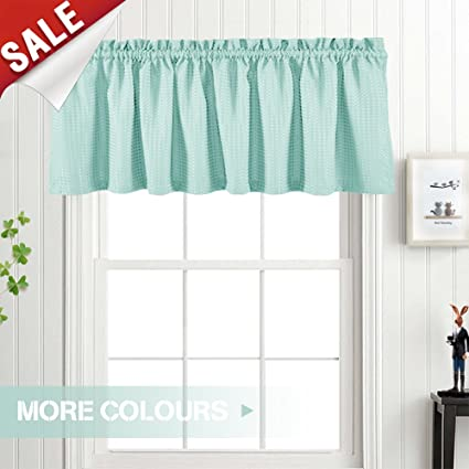 Valance Aqua Blue 18 Inch Kitchen Window Curtain Living Room Bedroom Waterproof Bathroom Curtains Valance Panel Sold Individually