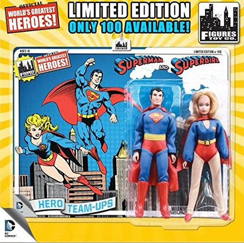 "DC Superman World's Greatest Super Heroes Retro Two-Pack Series 1 Superman & Supergirl 8"" Action Figure 2-Pack [Blue Card]"
