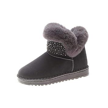 KOKQSX-Botas de Nieve Caliente Zapatos Algodon Cachemira Tubo Corto denso Corto Botas Zapatos Planos.: Amazon.es ...