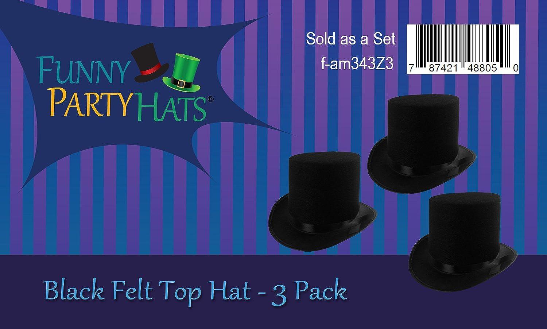 Funny Party Hats® - Sombrero de copa de filtro negro para disfraces ...