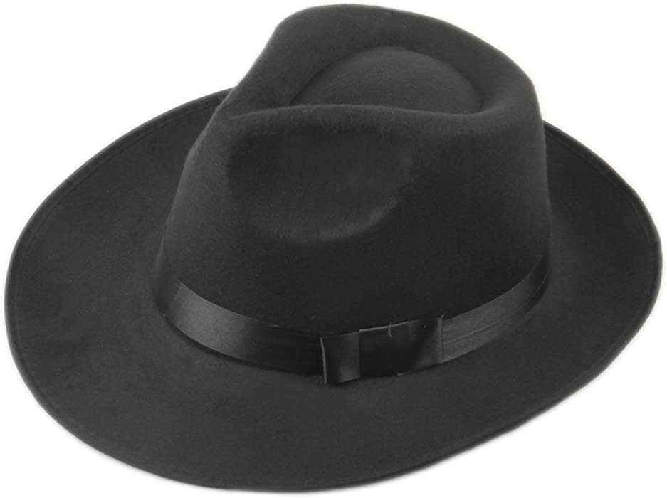 585b727e468 Vintage Men Women Hard Wool Felt Hat Wide Brim Fedora Trilby Panama Hat  Gangster Cap