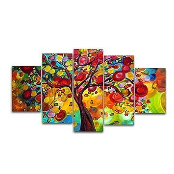Hianiquaime® 5 Parties Tableaux Peintures à Lu0027huile Sur Toile Peinture  Suspendue Décoration Murale