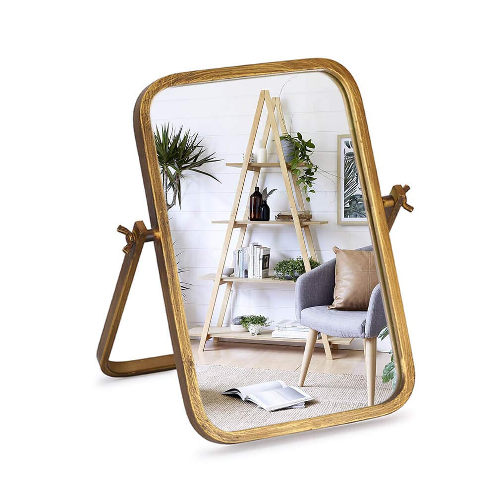 "Geloo Personal Makeup Mirrors Decor - Rectangle Vintage Table Mirrors 360 Adjustable Rotation, Bronze Metal Framed 10"" Small Standing Mirror, for Desk top Decor, Office, Bedroom, Bathroom, Living Room"