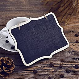 Coolrunner 10pcs Mini Rectangle Chalkboard Label 6.5 x 5 Inch Black Board for Message Board Signs