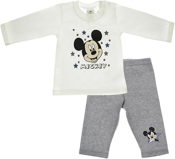 Disney Baby Talla 56, 62, 68, 74, 80, 86 Conjunto de pantal/ón y Camiseta de Manga Larga con Forro de Mickey Mouse