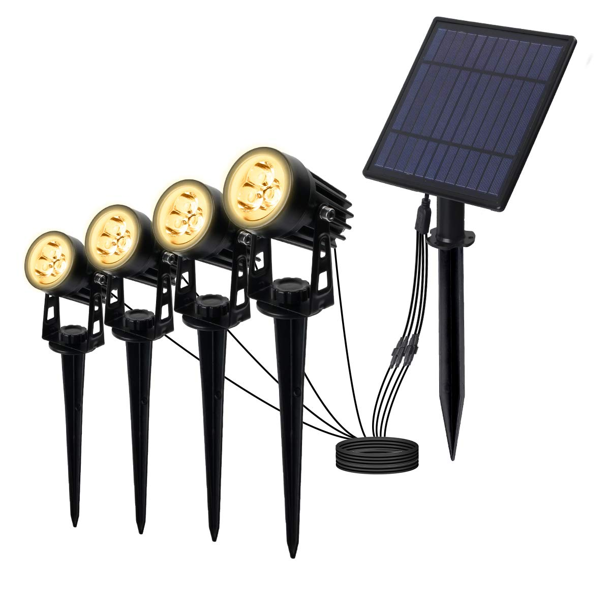 T-SUNRISE 3W Solar Spotlights, IP65 Waterproof Outdoor Solar Lights Landscape Lighting Wall Light Auto On/Off with 4 Warm White Spot Lamp for Tree,Patio, Yard, Garden