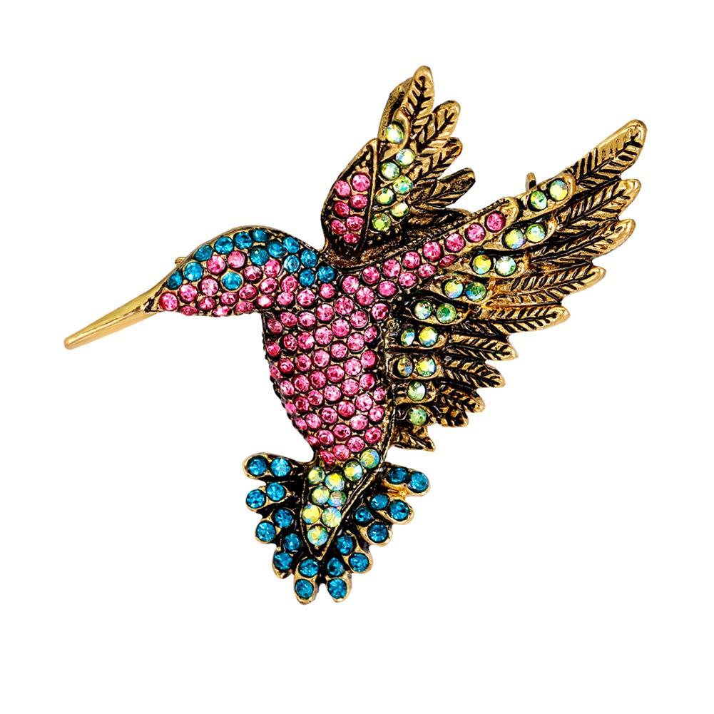 Finance Plan Brooch Clip Scarves Shawl Collars Clip,Women Vintage Rhinestone Multi-Color Hummingbirds Bouquet Jewelry Brooch Pin - Multi-Color