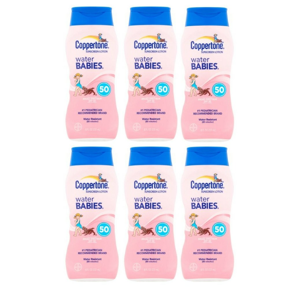 Coppertone Water Babies Sunscreen Lotion SPF 50, 8 fl oz (6 pack)