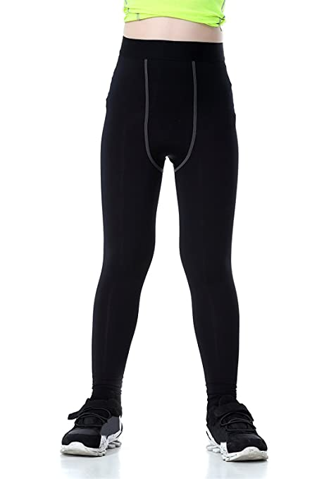 QingCheng Boys /& Girls Compression Tights Sport Leggings Base Layer Soccer Hockey Thermal Pants for Kids
