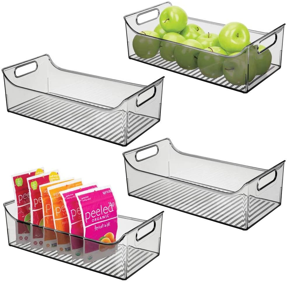 "mDesign Wide Plastic Kitchen Pantry Cabinet, Refrigerator or Freezer Food Storage Bin with Handles - Organizer for Fruit, Yogurt, Snacks, Pasta - BPA Free, 16"" Long, 4 Pack - Smoke Gray"
